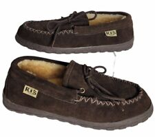 RJ's Fuzzies Mens 9 Sheepskin Slipper Shoe Moc Moccasins Chocolate Brown Comfy