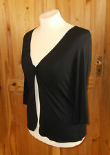 WALLIS black stretch twist open fronted tunic top cardigan top 3/4 sleeve 16 44