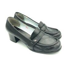 Womens Vintage Tommy Hilfiger Chunky Heeled Loafers Black Sz 7 M Medium Leather