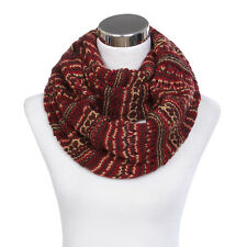 Bohemian Style Three Tone Winter Knit Warm Infinity Circle Scarf - Diff Colors