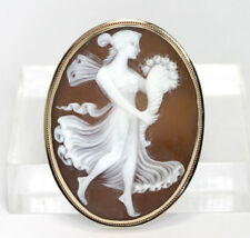 Antique full figure cameo pin brooch pendant 14K rose/yellow gold 7.9 g unique!