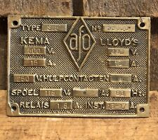 Vintage AFO Industrial Machinery Equipment Plaque Sign Steampunk