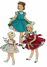 Vintage SEWING PATTERN 1950s Baby Toddler Dress Pinafore Size 1 2 3 4 Doll 14 in