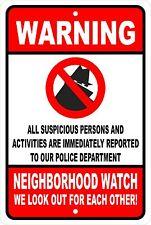 Neighborhood Watch Security Aluminum Sign 8 X 12
