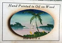 "Vtg. Hand Painted Wood Pin Brooch Oil On Wood 2"" dated 1946 - To Mother on back"