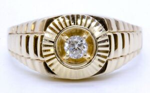 Men's 14K Solid Yellow Gold Round Diamond Watch Band Style Solitaire Ring s 12.5