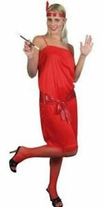 Smiffys Red Flapper Fancy Dress Costume Womens 1920's Outfit Ladies Size UK 8-10
