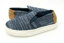 Toms Boys 10 Luca Loafer Shoes Blue Chambray Low Top Slip Ons