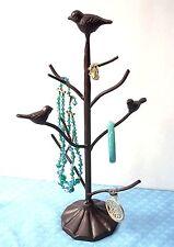 JEWELRY STAND NECKLACE BRACELET EARRING HOLDER ORGANIZER CAST IRON TREE BIRDS