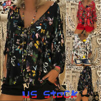 Womens Swing Tops Casual Butterfly Printed T-Shirts Blouse Loose Baggy V-Neck US