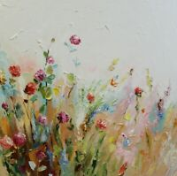 Flowers texture painting Palette Knife Impasto Pink flowers Roses oil art