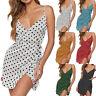 Womens Dot Print V Neck Ladies Sun Beach Holiday Summer Mini Dress Casual Sexy