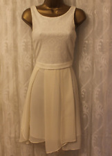 BCBGeneration Textured Jersey Mesh Panel Skirt Party Cocktail Ivory Dress 8 36