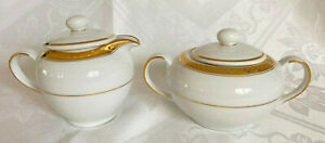 NEW GOTHAM RIDGEWOOD GOLD Fine Porcelain Creamer&Sugar Bowl Set W/Lid White/Gold