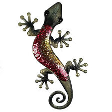 """24"""" Copper Finish Vintage Style Gecko Wall Decor Hand-Painted Metal and Glass"""