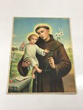 Sant'Antonio da Padova stampa anni 50 Arte Sacra poster vintage 32x42 cm