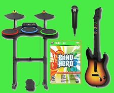 "XBox 360 ""BAND HERO"" Video Game Bundle Set w/Guitar/Drums/Mic kit microphone"