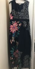 Debenhams Navy Blue With Beige Pink Green Blue Floral Pattern Maxi Dress Size 14