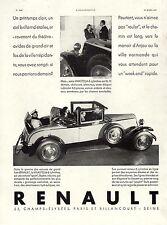PUBLICITE AUTOMOBILE RENAULT VIVASTELLA 1930 CAR  AD