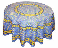 "Le Cluny 70"" Round COATED Provence Tablecloth - Monaco Blue"