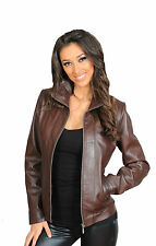 REAL leather fitted biker jacket for womens Nicole Brown classic leather coat