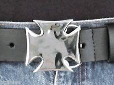 Boucle de ceinture MALTESE CROSS Chrome - Made in USA - Style BIKER HARLEY
