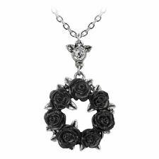 Alchemy Gothic Ring O Roses Pewter Pendant Necklace - Pagan Pewter Crystal