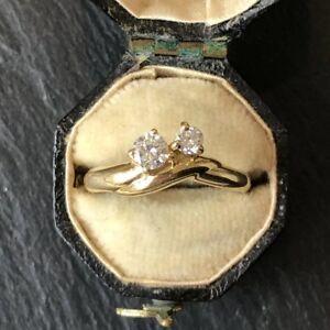 """Vintage Diamond """"Toi Et Moi"""" 18 Karat Yellow Gold Ring"""
