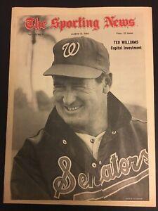 1969 Sporting News WASHINGTON Senators TED WILLIAMS No Label BOSTON RED SOX HOF