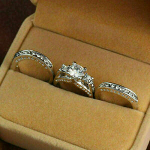 3-Piece 2.52Ct Round Cut Diamond Wedding Engagement Ring Set 925 Sterling Silver
