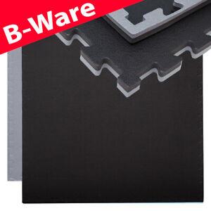 B-Ware Trainingsmatte 90x90 Bodenschutz-Matte 20mm dick erweiterbar Grau Schwarz