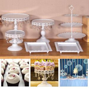 6PCS Cake Stand Display Dessert Holder Wedding Party Crystal White Round UK