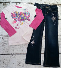 CHILDREN'S PLACE Girls Rocker Guitar Tee, Pink Tee, and Star Jeans 6 7 8 EUC