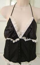 Victoria's Secret~Basque Corset~ Tie Neck Halter Style Bra~Black~Large