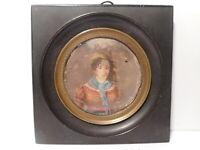 Tableau peinture miniature 19 siècle portrait femme fichu foulard