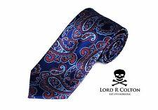 Lord R Colton Studio Tie Royal Blue & Orange Paisley Woven Necktie $95 New