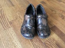 B.O.C. Womens Black and Brown Snakeskin Clogs Shoes Nursing Sz 8.5 / 40