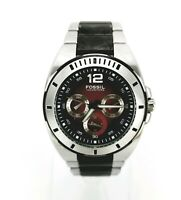 Fossil Blue Mens Red Faced BQ-9284 WR Luminous Chronograph Bracelet Analog Watch