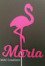 Personalised Flamingo Glitter Cake Topper - Tropical - Any Name - 300 GSM