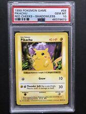 1999 Pokemon Base Set Shadowless Red Cheeks Pikachu PSA 10 GEM MINT