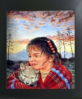 Native American Indian Girl and Wolf Wall Art Decor Contemporary Framed Picture