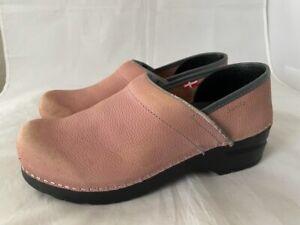 Sanita The Original Womens Danish Clog Shoes Pink Wedge Heels Slip Ons 7 EUR 38