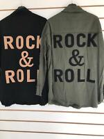 Womens Long Sleeve Oversized Rock And Roll Shirt Casual Buttoned Front