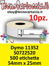 10 X Rotoli Etichette Compatibili Dymo 11352 S0722520 54 mm x 25 mm Twin Turbo