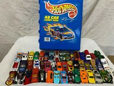 Mattel 1999 HOT WHEELS Blue STORAGE CASE & 48 DIECAST Cars HOLDS Carrying LOT