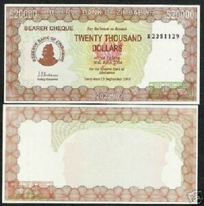 ZIMBABWE 20000 DOLLARS P23 2003 ACTING GOVERNOR UNC CHECK CURRENCY MONEY