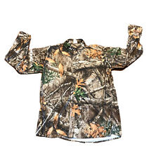 Realtree Camouflage Camo Button Up Long Sleeve Shirt 100% Cotton Light Weight- M