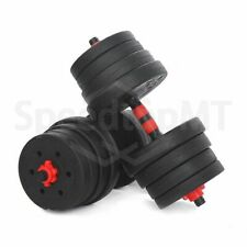 30KG Pair Body Building Gym Black&Red Barbells Cement Dumbbells Sports Indoors