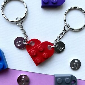 Heart Keyring Keychain made with LEGO ® CAN BE PERSONALISED WITH INITIALS