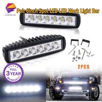 "2x Single Row 6""inch LED Work Light Bar SPOT Offroad ATV SUV 4WD PK 1800LM"
